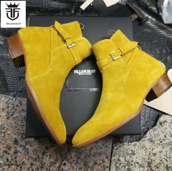 Autumn Yellow suede leather men booties buckle strap Chelsea Boots / slip on Ankle Boots