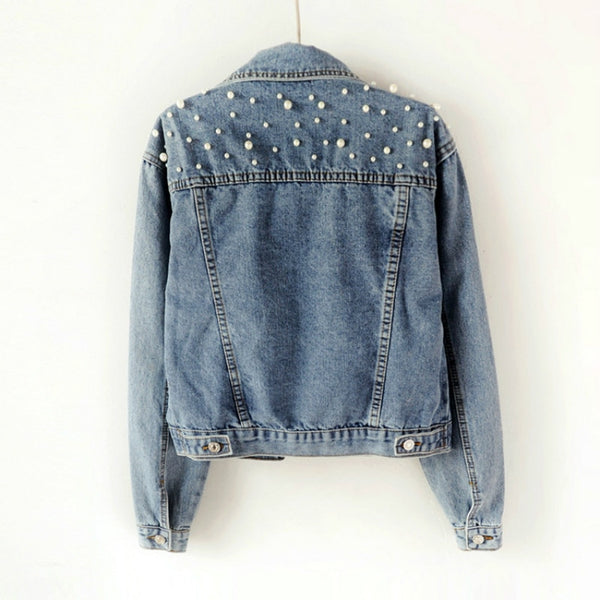 Pearl Beading Crop Denim Jacket