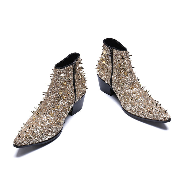 Champaign Gold Studded Ankle Boot (Men)