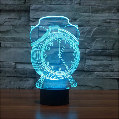 Alarm Clock Lamp 3D Visual LED Night Light for Kids Touch Button USB Desk Lampara - Mr Mrs Home