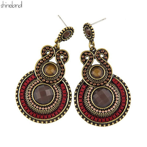Antique Party Dresses Bohemia Style Enamel Beads Statement Drop Earrings Vintage - Mr Mrs Home