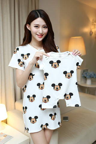 Cotton Cartoon Mother And Baby Family Matching Outfits Mom Mickey Donald Breast-feeding Dress Shirt+Baby Romper Jumpsuit - Mr Mrs Home