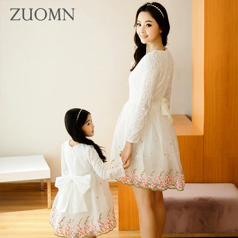 Korea Style Mother Daughter Dresses Cute Lace Family Look Matching Outfits - Mr Mrs Home
