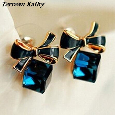 Chic Shimmer Plated Gold Bow Cubic Crystal Earrings Rhinestone Stud Earrings - Mr Mrs Home