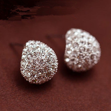 Jewerly Fashion Vintage Full Crystal Crescent Stud Earrings