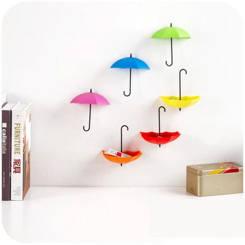 3pcs/lot Creative Umbrella Shaped  Key Holder Hanger Wall Shelf Rack - Mr Mrs Home