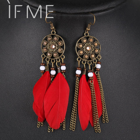 Classic Bronze Earrings Flower Rhinestone Feather Tassel Pendant - Mr Mrs Home
