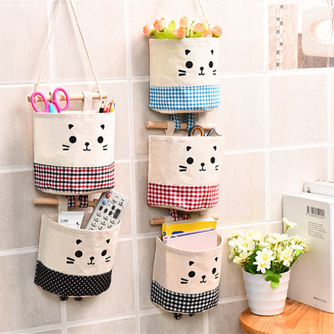 Cute Cat Cotton Linen Storage Bag Sundries Organizer Hanger Bag Door Wall Closet Hanging Pocket Pouch Makeup Cosmetic Holder - Mr Mrs Home