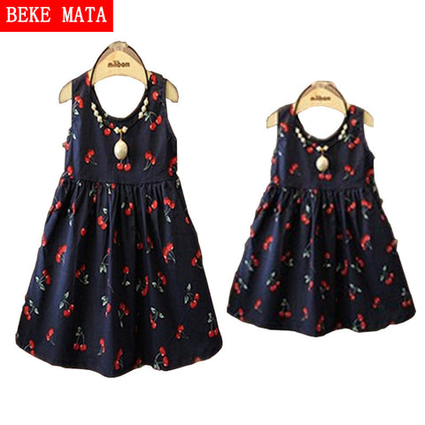 Matching Mother Daughter Dress Fashion Print Cotton Family Look Zipper - Mr Mrs Home