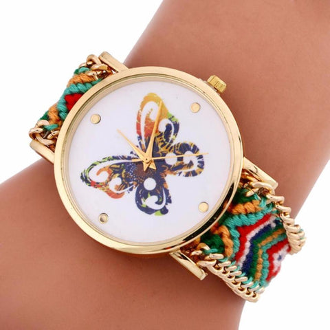Colorful Butterfly Women Watch 2016 Fashion Lady Quartz Pattern Knitting Dial Bracelet Watches - Mr Mrs Home