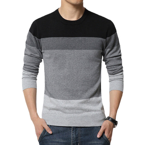 Striped Sweater Men Casual Slim Fit Knitted - Mr Mrs Home