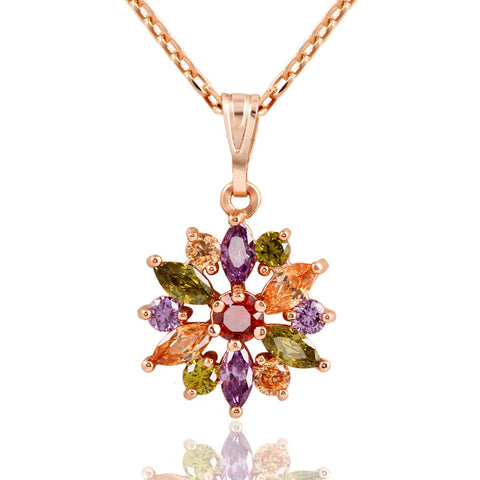 Luxurious Romantic Colorful Zircon sweater chain necklace - Mr Mrs Home