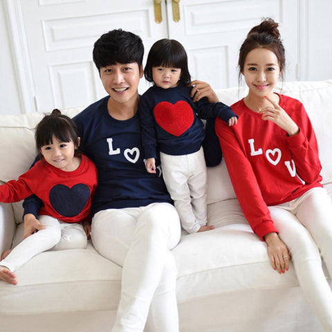 1PC LOVE Matching Mom/Dad/Baby Long-Sleeve Cotton T -shirts - Mr Mrs Home