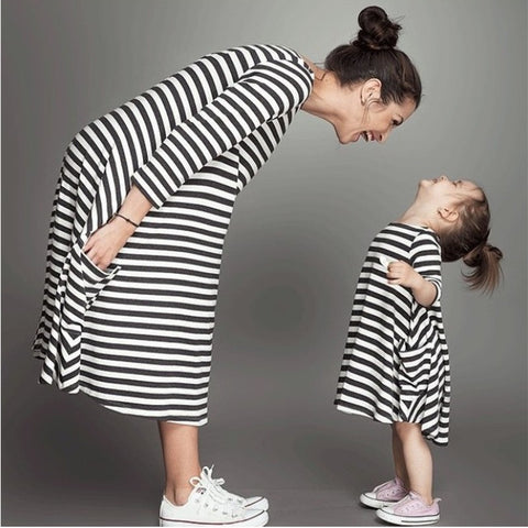 Fashion mom and kids couple look stripes - Mr Mrs Home