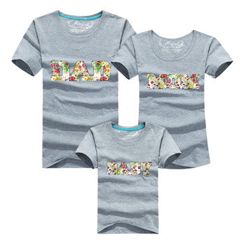 Letter DAD MOM BABY Family Matching Outfits Gray, White & Black - Mr Mrs Home