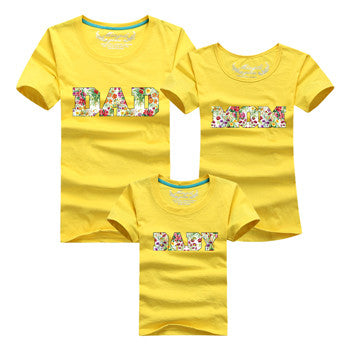 Letter DAD MOM BABY Family Matching Outfits Green & Yellow - Mr Mrs Home