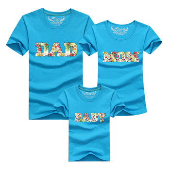Letter DAD MOM BABY Family Matching Outfits Blue Options - Mr Mrs Home