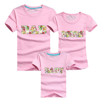 Letter DAD MOM BABY Family Matching Outfits Pink, Red & Orange - Mr Mrs Home