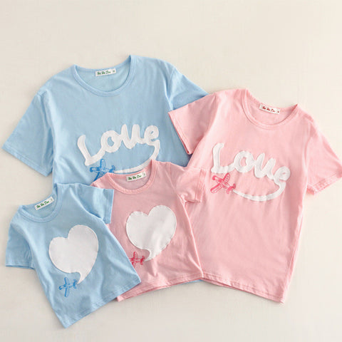 Family matching clothes Mom/Dad/Baby Love short-Sleeve Cotton T shirts - Mr Mrs Home