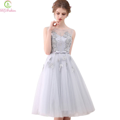 Fashion New Bridal Banquet Grey Lace Flower Short Evening Dress - Mr Mrs Home