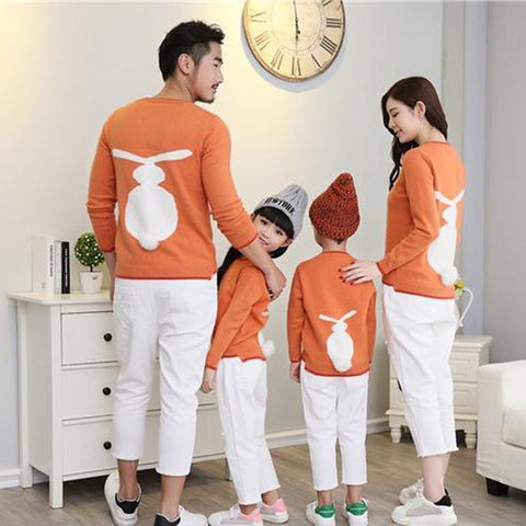 Rabbit Pattern Sweaters Mom Christmas Pajama Mother dad Baby Matching Clothes Family Look - Mr Mrs Home
