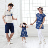 mother father baby short sleeve	polka dot