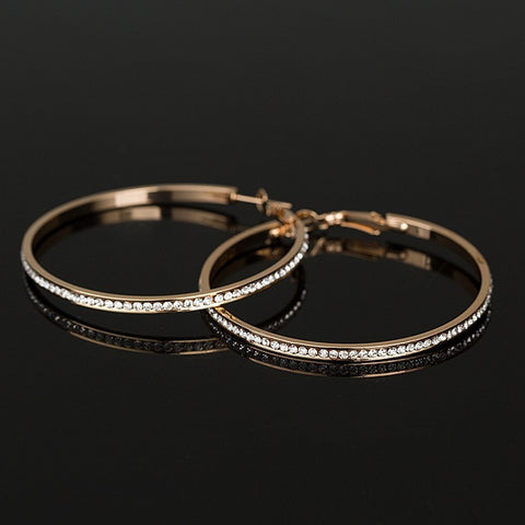 Rhinestone circle gold plated hoop Earrings