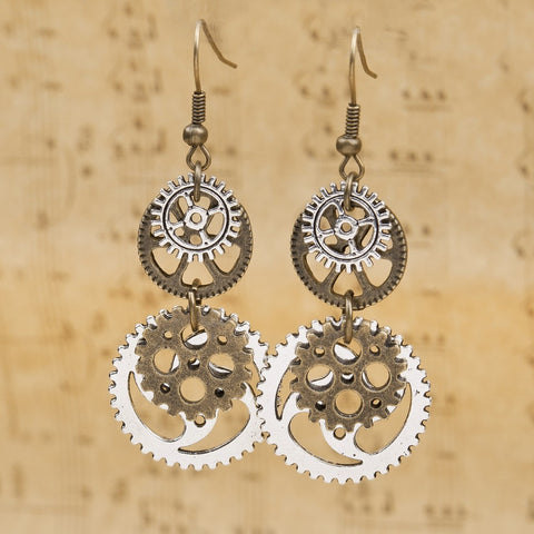 "Earrings Antique Bronze Gear Pendants 60mm(2 3/8"") x 23mm( 7/8""), 1 Pair - Mr Mrs Home"