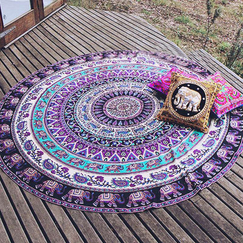Specical Round Indian Elephant Beach Picnic Throw Rug - Mr Mrs Home