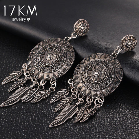 Vintage Leaf Feather Dangle Earrings For Women Bohemia Style Earring