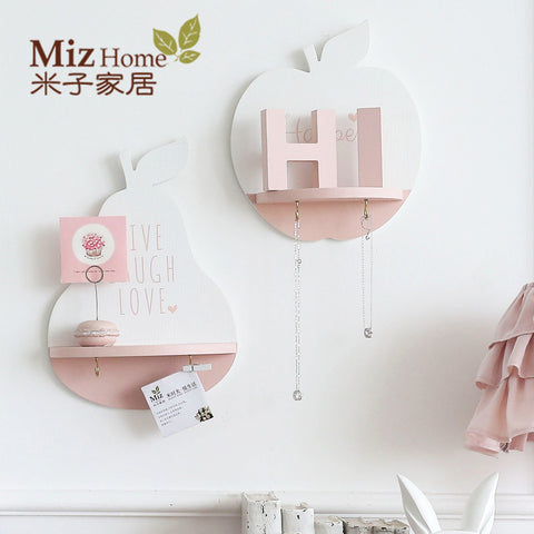 1 Piece Pink Wooden Creative Wall Hanging Shelf Flowerpot Rack Storage Holder - Mr Mrs Home