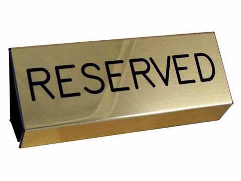 Sign Reserved Pew Brushed Gold (3X6)