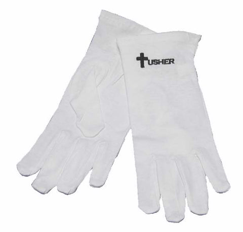 Gloves Usher w/Cross White Cotton Medium