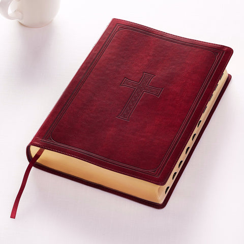 KJV Super Giant Print Bible Burgundy LuxLeather Indexed
