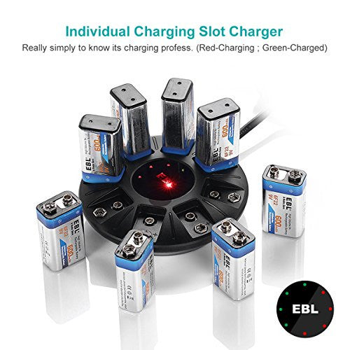 EBL 9V Battery Charger for Lithium-ion Rechargeable Batteries, 8 Bay Smart Charger