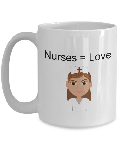 Coffee mug hugs: Nurses = Love - Brown