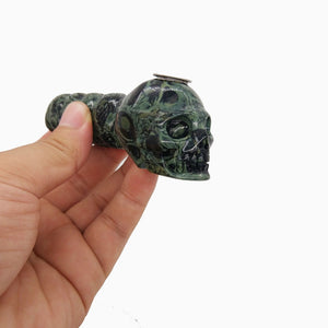 Green Jasper Crystal Skull Pipe - Crystals Are Cool