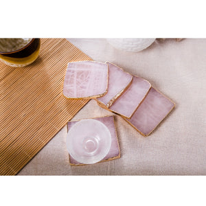 Rose Quartz Coaster Set - Crystals Are Cool