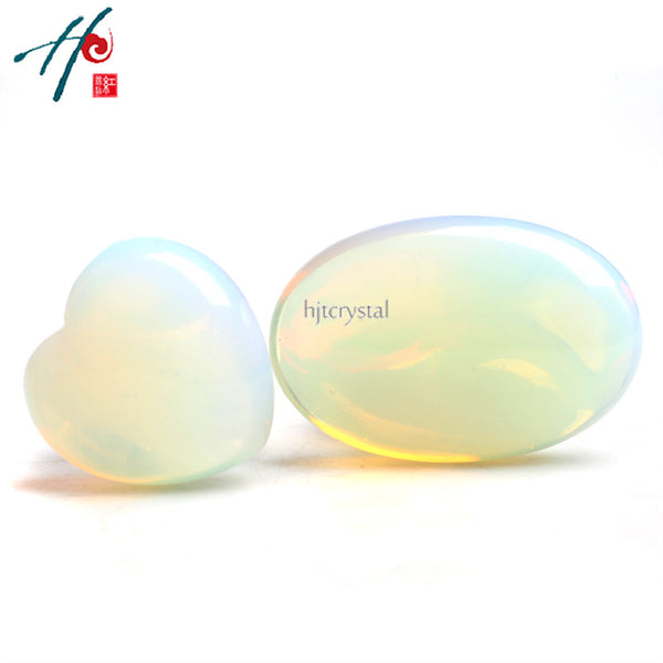 Opalite Crystal Heart & Palm Stone - Crystals Are Cool