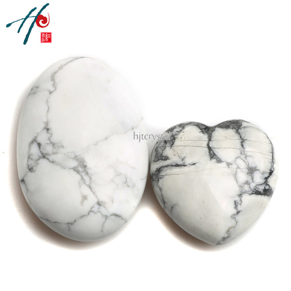 Howlite Crystal Heart & Palm Stone - Crystals Are Cool