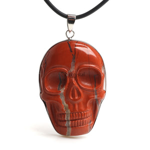 Red Jasper Skull Necklace - Crystals Are Cool