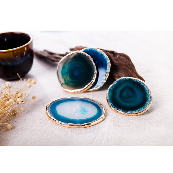 Blue Agate Coasters - Crystals Are Cool