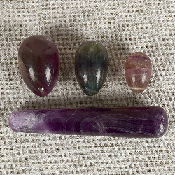Fluorite Yoni Egg Set & Massage Wand - Crystals Are Cool