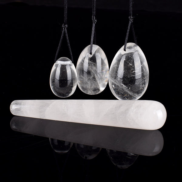 Clear Quartz Yoni Egg Set & Wand - Crystals Are Cool