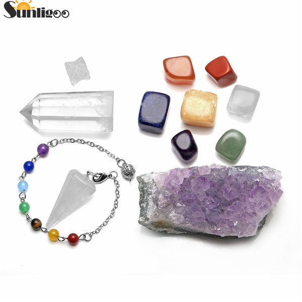 Chakra Healing Kit with Quartz & Amethyst - Crystals Are Cool