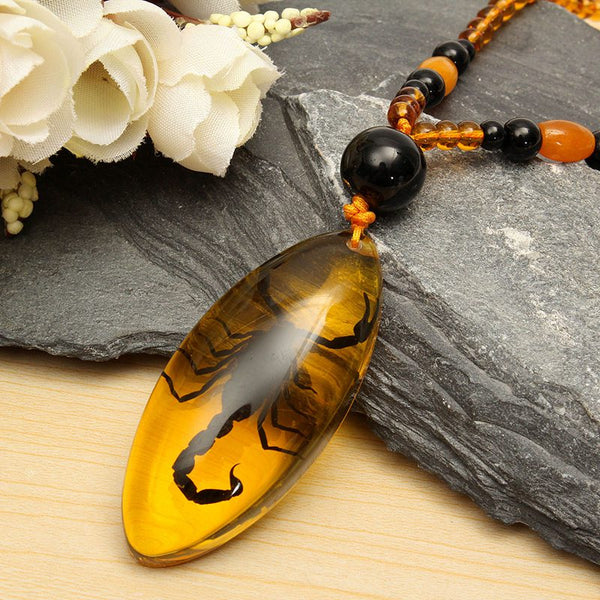 Amber Scorpion Necklace - Crystals Are Cool