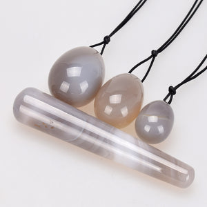 Natural Agate Yoni Egg Set & Wand - Crystals Are Cool