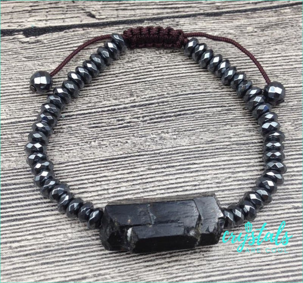 Black Tourmaline, Amethyst & Fluorite Hematite Bracelet - Crystals Are Cool