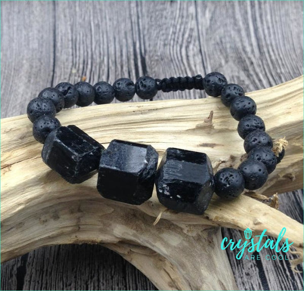 Black Tourmaline Lava Bead Bracelet - Crystals Are Cool
