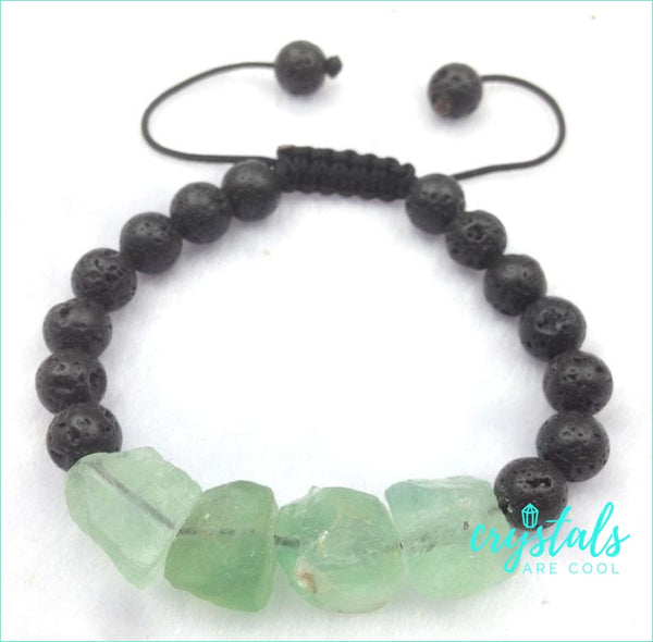 Fluorite Lava Stone Bracelet - Crystals Are Cool